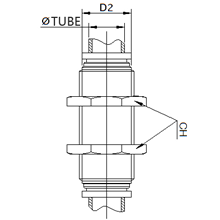 SPM 12, 12mm O.D Tubing Equal Bulkhead Connector, Stainless Steel Push to Connect Fitting